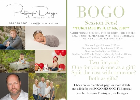 BOGO SESSION FEES! EXTENDED THROUGH JULY9TH!!